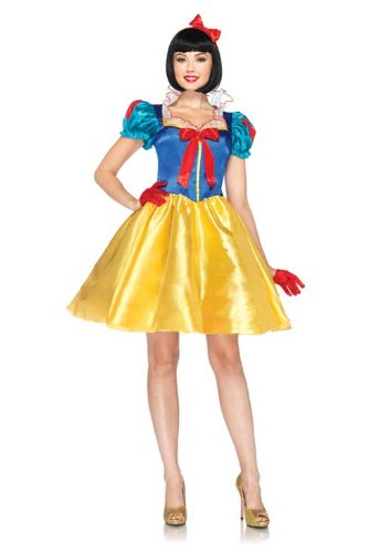 Leg Avenue Disney 2Pc. Classic Snow White Costume Dress with Bow Head Piece, Blue/Yellow/White, ()
