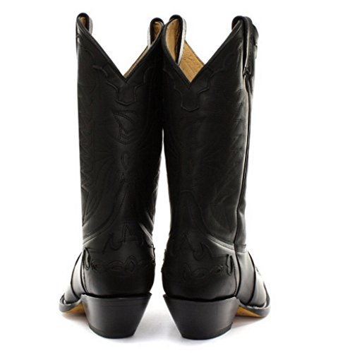 Grinders Arizonas Hoch Unisex Leder Cuban Heel Cowboy Stiefel Schwarz
