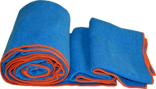 Khataland Equanimity Yoga Towel with Eco Travel Case, Extra Long Mat Size 72x24.5-Inch, Blue