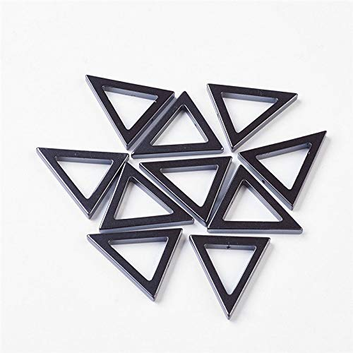 30 Pcs Black Non-Magnetic Synthetic Hematite Triangle Pendants 31x4mm Hole 1mm