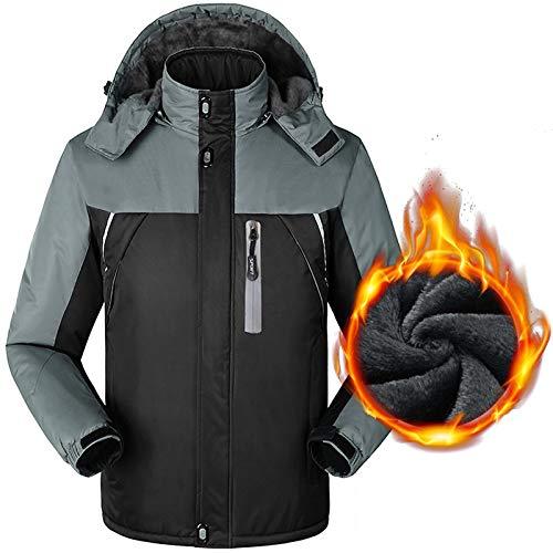 Liabb Herren Climbing wasserdichte Bergjacke verstellbare Kapuze Jacken-Mantel herausnehmbare Innen mit Fleece-Futter Regen Jacke mit Taschen Winter-Kleidung