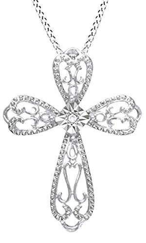 Natural Diamond Accent Lacy Cross Pendant Necklace In 14K White Gold Over Sterling Silver