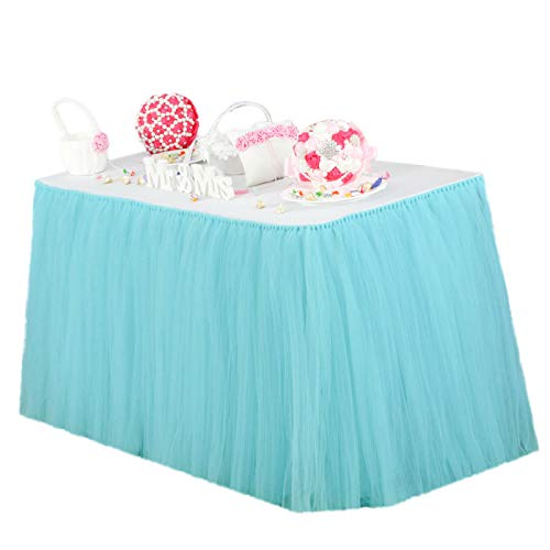 Vlovelife Turquoise Blue Tulle Table Skirt Tutu Tableware TableCloth Party Baby Shower Birthday Wedding Decorations Favor 100cm X 80cm Customized Size Available]()