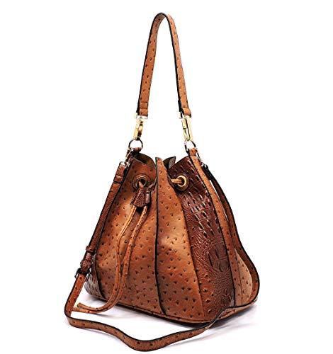 Handbag Republic Ostrich Embossed Pleated Hobo w/Inner Bag Crossbody (Brown)