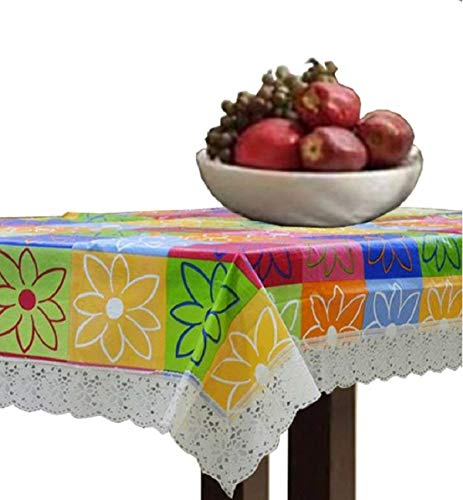 Kuber Industries PVC Checkered Dining Table Cover For 6 Seater -Multicolor
