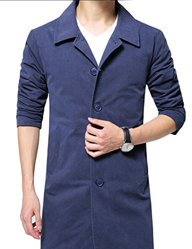 Qiangjinjiu Menâ€s Single Breasted Windbreaker Light Jacket Coat Trench Coat Blue XL Mena Coat