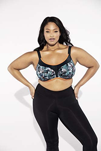 Elomi Women's Plus Size Energise Underwire Sports Bra with Racerback Conversion, Camotropic, 36DD