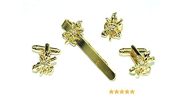 Pack Gemelos de Camisa,Pasador de corbata y Pin del Escudo de la Legión Dorado: Amazon.es: Ropa y accesorios