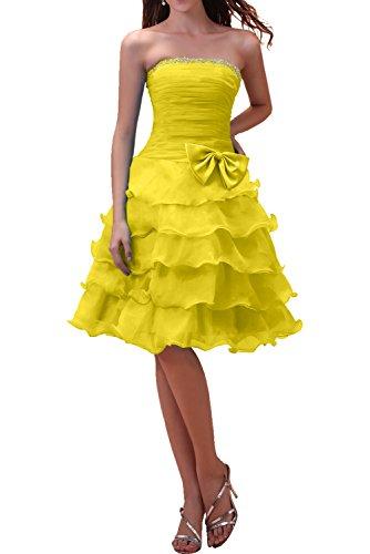 Traegerlos Partykleider Linie Gelb Knielang Damen Ballkleider A Ivydressing Liebling Abendkleider mit Schleife Tanzenkleider Organza qU6tRtxwY