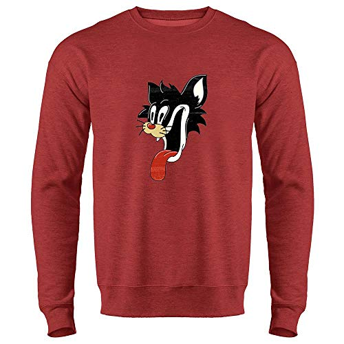 Cartoon Comic Cat Face Funny Retro Heather Red S Mens Fleece Crew Sweatshirt -