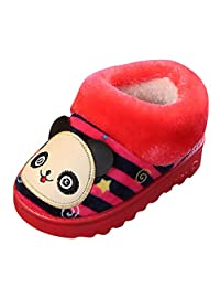 Amaping Cartoon Striped Indoors Slipper Baby Boys Girls Martin Snow Boots Kids Winter Thicken Flock Warm Home Shoes