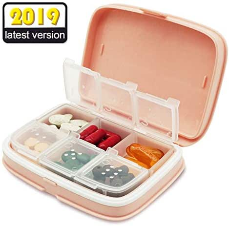 SYOSIN Travel Pill Organizer, Portable Pill Box and Organizer Daily Pill Case, Medicine Organizer Moisture Proof Pill Box case for Vitamins, Medications Cod Liver Oil, Supplements (Pink)