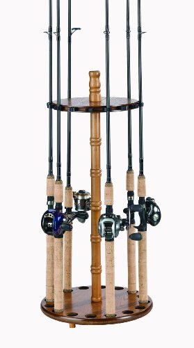 Organized Fishing Oak Finish Round Floor Fishing Rod Rack