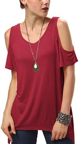 Women's Vogue Shoulder Off Wide Hem Design Top Shirt