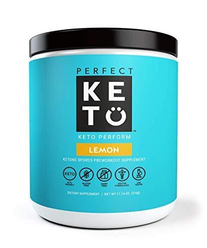 Perfect Keto Perform Preworkout Supplement: Pre Workout Powder for Ketosis & Ketogenic Diet | BHB Ketone Salts for Men & Women. BCAA, Nitric Oxide & MCT to Burn Fat for Fuel. Sport Gym Workout Drink by Perfect Keto