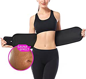 OMIAX Waist Trimmer Belt, Neoprene Waist Sweat Band for Stomach Fat Burner Wrap and Waist Trainer, Weight Loss Slimming Ab Belt for Women & Men, Low Back and Lumbar Support for Workout,Weight,Lifting (Black, Medium)