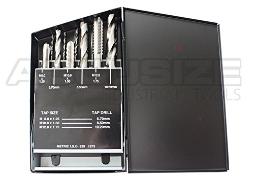 Accusize Industrial Tools 18 Pc H.S.S. Tap and Drill Set, Metric, 0001-0052