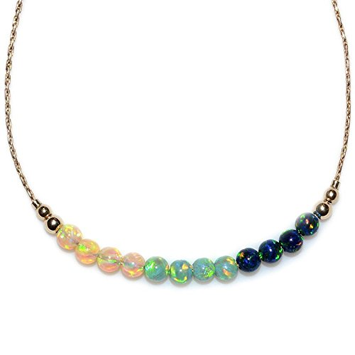 Opals Horizontal Bar Necklace Gold / Opal Necklace, Opal Cha