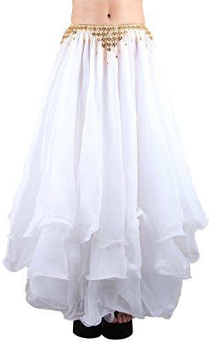 Seawhisper Bellydance Dress Halloween Tribal Chiffon Tiered Maxi Full Skirt Pure White 10 12 14 16 18