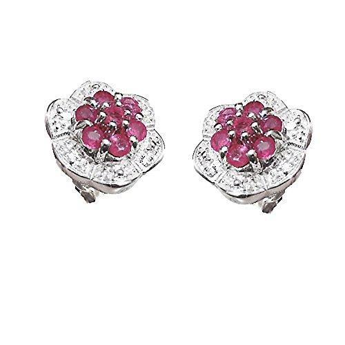 Austral Jewellery Ltd - Argent 925 Réel Rubis & Diamant Reel Grappe Goujon Boucles D'Oreilles - Cadeau 40E Anniversaire De Mariage