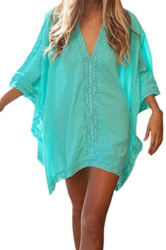 Bess Bridal Women's Solid Oversized Beach SwimsuitCover Up Dress (Blue Green)
