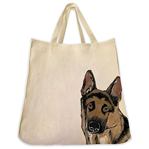German Shepherd Dog Color Design Tote Bag - Extra Large Cotton Twill Eco Friendly Reusable Shopping Grocery Handbag - Made By Tote Tails (German Shepherd)