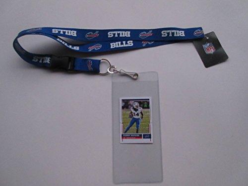 BUFFALO BILLS LANYARD WITH TICKET HOLDER & COLLECTIBLE PLAYER (Buffalo Bills Card Holder)
