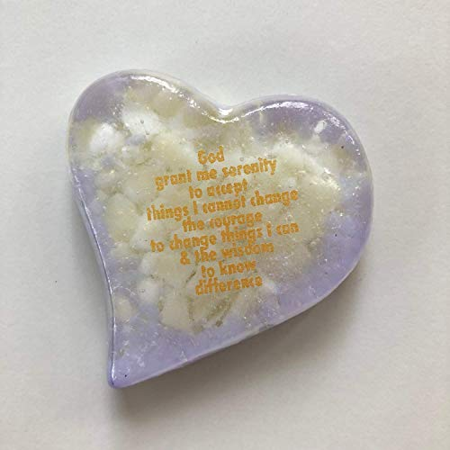 Serenity Prayer Heart, Paperweight,Love gift, Chinese New years gift,fused glass,Trivet,Beach Ocean Dishware,Display,Birthday Present,Ocean colors, blue, violet, green, ()