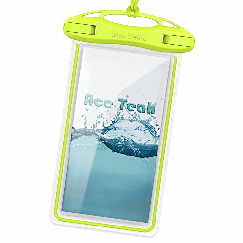 (Waterproof Phone Case, Ace Teah Universal Transparent Waterproof Case Dry Bag Pouch for Devices Up to 6.0 Inch for Swimming, Diving, Rafting, Fishing, Snowing, Skiing, Skating, Beach or Cave -)