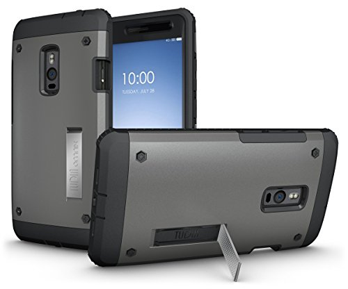 (OnePlus 2 Case - TUDIA Ultra Tough OMNIX [Heavy Duty] Hybrid Full-Body Protective Case with Front Cover and Built-in Screen Protector/Impact Resistant Bumpers Cover for OnePlus Two (Metallic Slate))