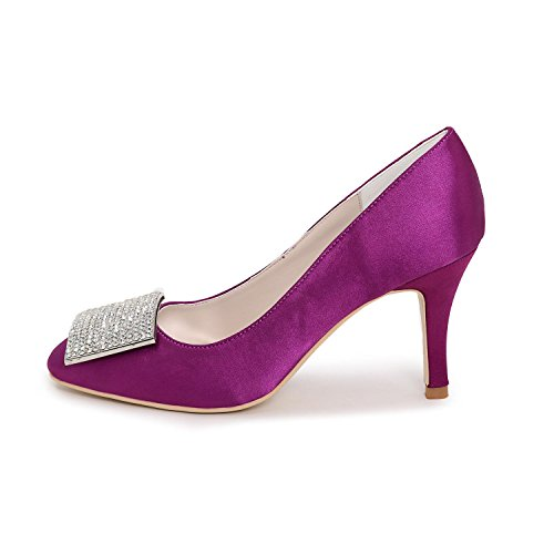 Spring Rhinestone Purple Party Wedding Summer Blue Evening High Satin Heels Women's Heel White Winter Red Silver Silver amp; Fall Flat wEOq8