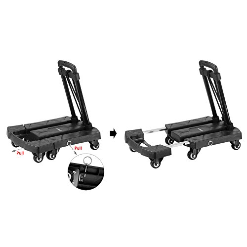 Ollieroo Cart Compact Personal Folding Hand Truck Luggage Cart with 6 wheels and Free Rope, 440 Lb Capacity Black by Ollieroo (Image #4)
