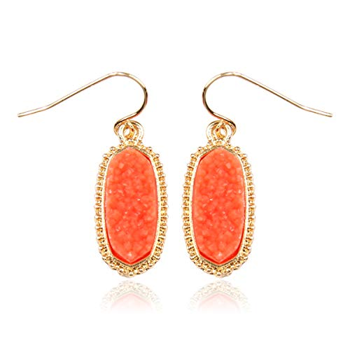 RIAH FASHION Lightweight Acrylic Stone Druzy Crystal Oval Drop Earrings - Sparkly Geometric Polygon Hook Dangles Hexagon, Decagon (Oval Hexagon Mini - Coral)