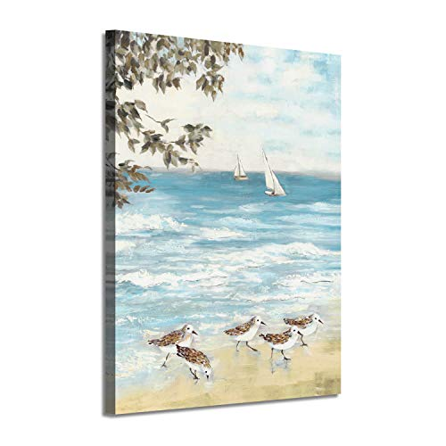 Ocean Abstract Artwork Coastal Picture: Sea Birds Graphic Art Print on Canvas Wall Art for Bedroom(16