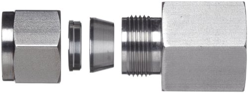 Brennan N2405-04-04-SS Stainless Steel Compression Tube Fitting, Straight Adapter, 1/4'' Tube OD x NPT Female by brennan (Image #3)