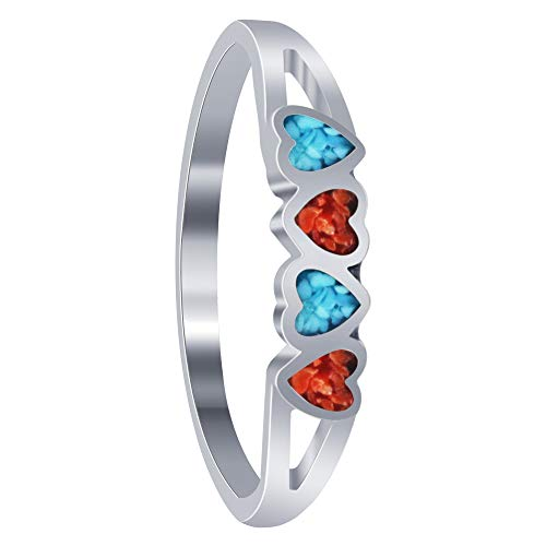 Sterling Silver Turquoise Coral Gemstone Heart Womens Ring Size 10
