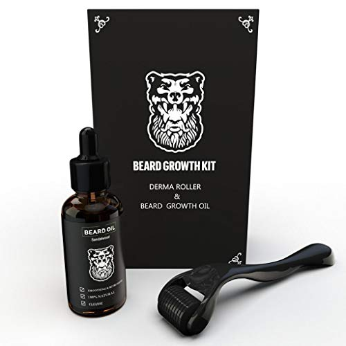 Derma Roller Beard Growth + Beard Growth Organic Oil - Microneedle Roller for Hair Growth Men - Stimulate Beard Growth Kit