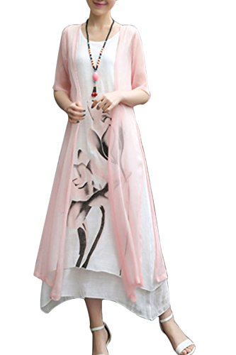 BubbleKiss Women Mori Girl Style Round Neck Asymmetric Hem Color Block Floral Printed Cotton/Linen Two-Piece Maxi - Shirt Day Floral Trip
