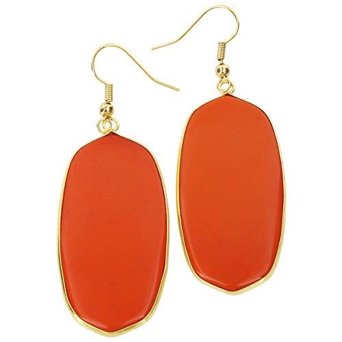 SUNYIK Women's Orange Crystal Glass Oval Dangle Earrings Gold Plated