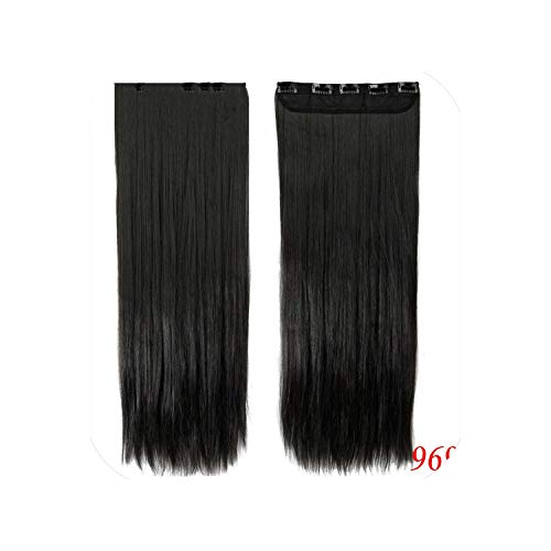 30 Inches 76Cm Fall To Hips Clip In On Hair Extensions 3/4 Full Head 5 Clips Ins Straight Synthetic Salon Hairpiece,#1B,30Inches]()
