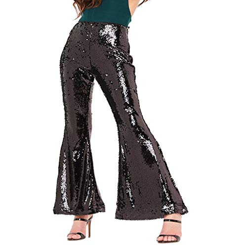 (VEZAD Women's Sexy Shiny High Waist Stretch Flare Pants Nightclub Trousers D Black)