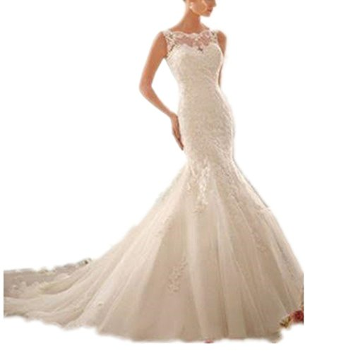 (Women's Scoop Neck Mermaid Lace Wedding Dress with Court Train Ivory XL)