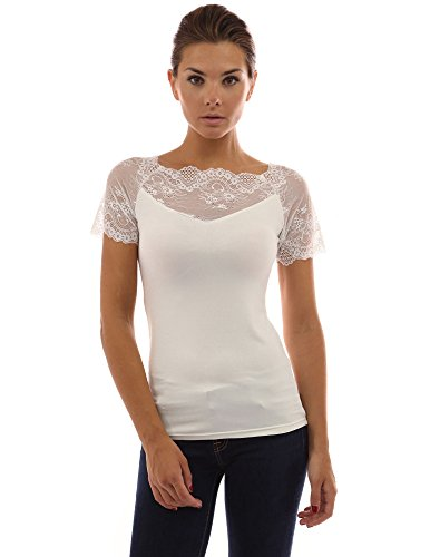 PattyBoutik Women's Scalloped Lace Inset V Neck Top (Off-White (Inset V-neck)