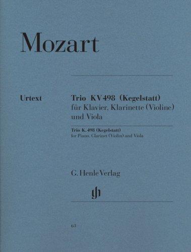 Trio in E flat major  K. 498(Kegelstatt)piano, clarinet (violin) and viola