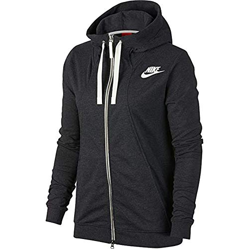 NIKE Womens Gym Classic Full Zip Hooded Sweatshirt Black Heather/Sail 924081-032 Size Small