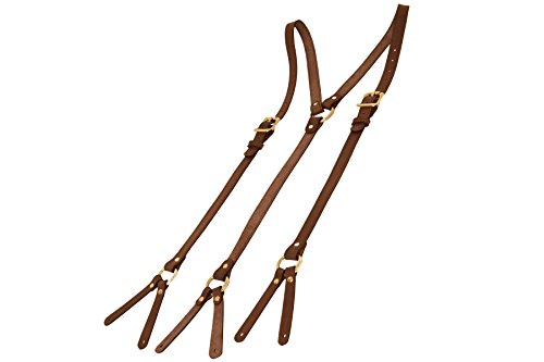 Project Transaction Men's Leather Suspenders S/M Dark Brown/Brass Buttonholes by Project Transaction
