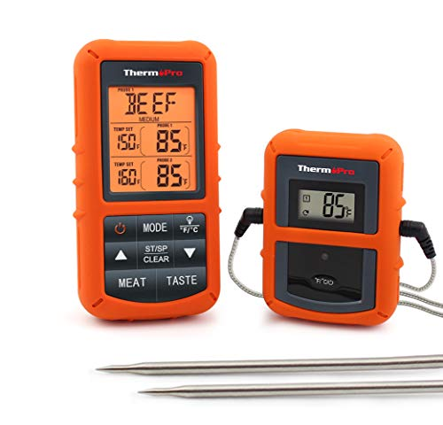 Stainless Steel Back Game - ThermoPro TP20 Wireless Remote Digital Cooking Food Meat Thermometer with Dual Probe for Smoker Grill BBQ Thermometer