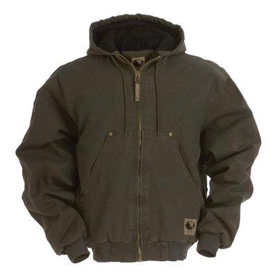 Berne Men's Original Washed Hooded Jacket, Olive, Large/Tall ()