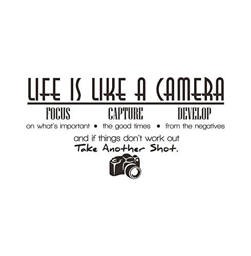 Life Is Like a Camera Focus Capture Develop and Take Another Shot Wall Stickers Removable Art Diy Sticker Home Decal
