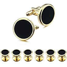 Gold Cufflinks and Tuxedo Studs Set for Mens Wedding Business